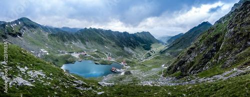 Fototapeta panoramic mountain view on lake Balea and on the Transfagarash obraz na płótnie