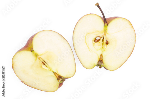 Photo  Red delicious apple two section halves flatlay isolated on white background