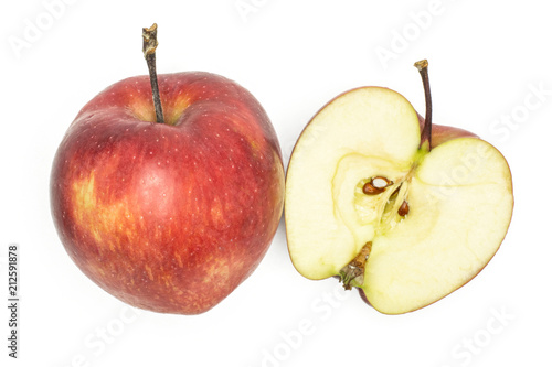 Red delicious one apple and section half flatlay isolated on white background Canvas Print