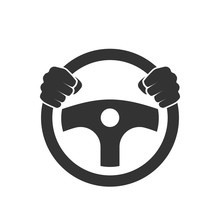 Hands Behind Wheel Icon.