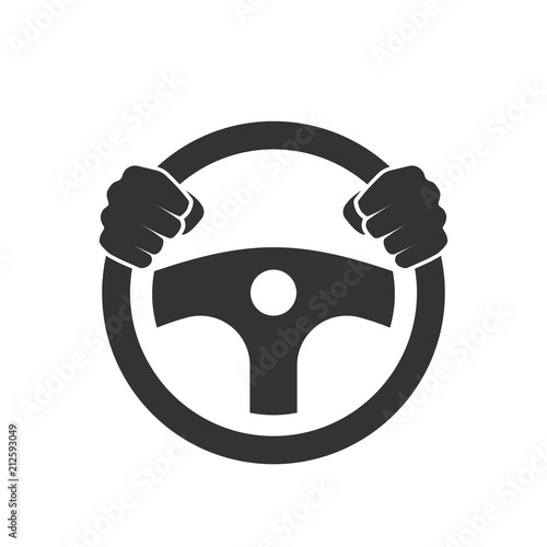 Leinwand Poster Hands behind wheel icon.