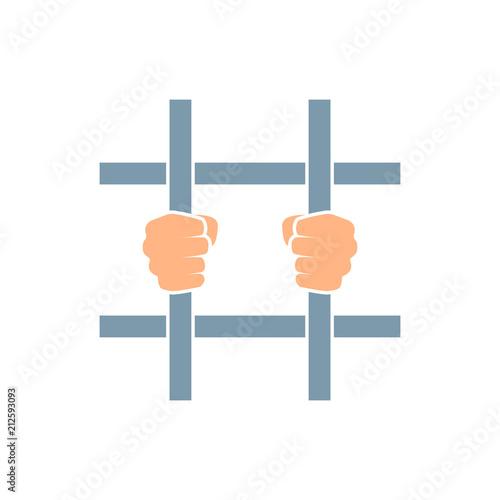 Fényképezés  Hands behind bars icon