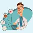 Doctor online. Medical care and consultation of patients through the Internet on tablet or laptop. Vector illustration of a medical man character.