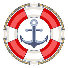 Life Ring With An Anchor