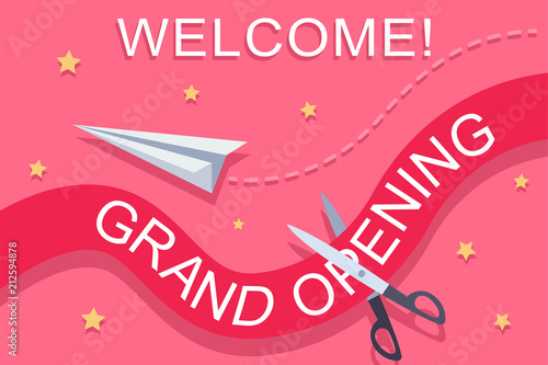 Grand Opening Invitation Template With A Red Ribbon Scissors Paper