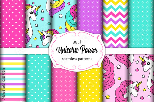 fototapeta na ścianę Cute set of childish seamless patterns with cartoon character of magic unicorn