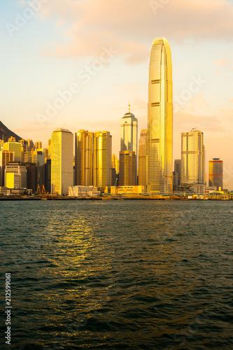 Spoed Foto op Canvas Hong-Kong Skyline of buildings at Chung Wan, Hong Kong Island, Hong Kong, China