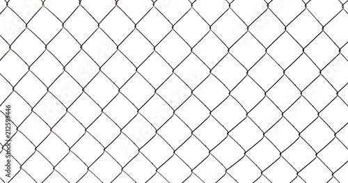 Obraz na plátně  Chain-link fence isolated on white