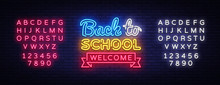 Back To School Welcome Greeting Card Design Template Neon Vector. Modern Trend Design, The Beginning Of The School Year Neon Sign. Back To School Invitation Poster. Vector. Editing Text Neon Sign