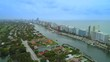 Aerial pull out establishing shot Miami Beach Florida