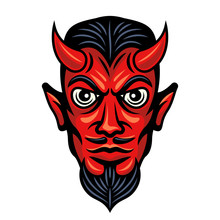 Devil Head With Horns Colored ...