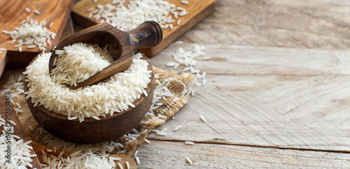 Basmati rice in a bowl with a spoon Wallpaper Mural