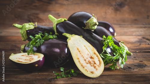 Frsh organic eggplant Wallpaper Mural