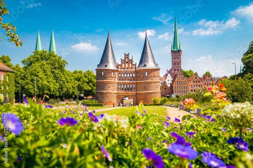 Foto op Aluminium Europa Historic town of Lübeck with famous Holstentor gate in summer, Schleswig-Holstein, northern Germany