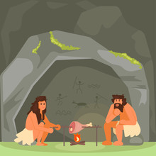 Stone Age Couple Cooking Meat Vector Illustration