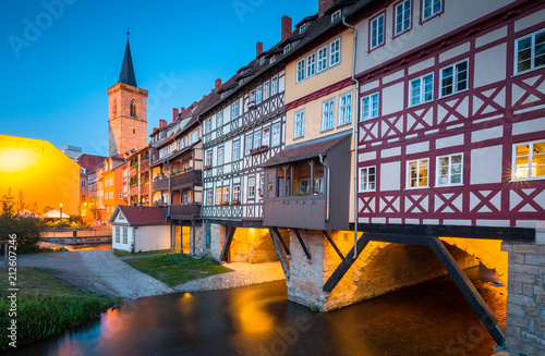 Fotobehang Europese Plekken Historic city center of Erfurt with Krämerbrücke bridge illuminated at twilight, Thüringen, Germany