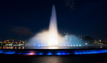 Point State Park Fountain In Downtown Pittsburgh At Night
