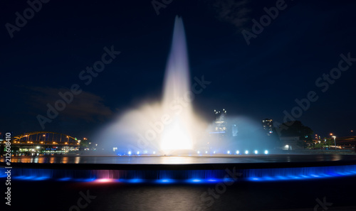 Photo Point State Park Fountain in downtown Pittsburgh at night