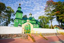 Green Wooden Church In Trzescianka, Poland
