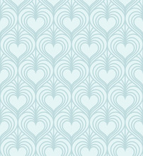 Linear Stylish Seamless Pattern With Hearts. Vector Illustration.