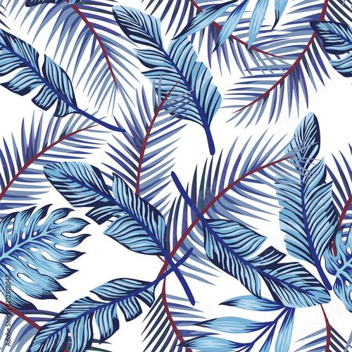 Fototapeta niebieskie egzotyczne liście
