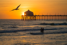 Pacific Coast Pier At Sunset, ...