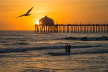 Pacific Coast Pier At Sunset, Huntington Beach, CA