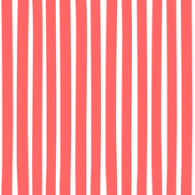 Seamless Pattern With Vertical Stripes. Pattern Can Be Used For Fabric Design, T-shirts And Textiles. Print For Polygraphy, Wallpaper, Wrapping Papers, Notebook. Vector Red Background.