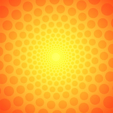 Yellow Circular Background With Polka Dots For Your Design, Stock Vector Illuustration
