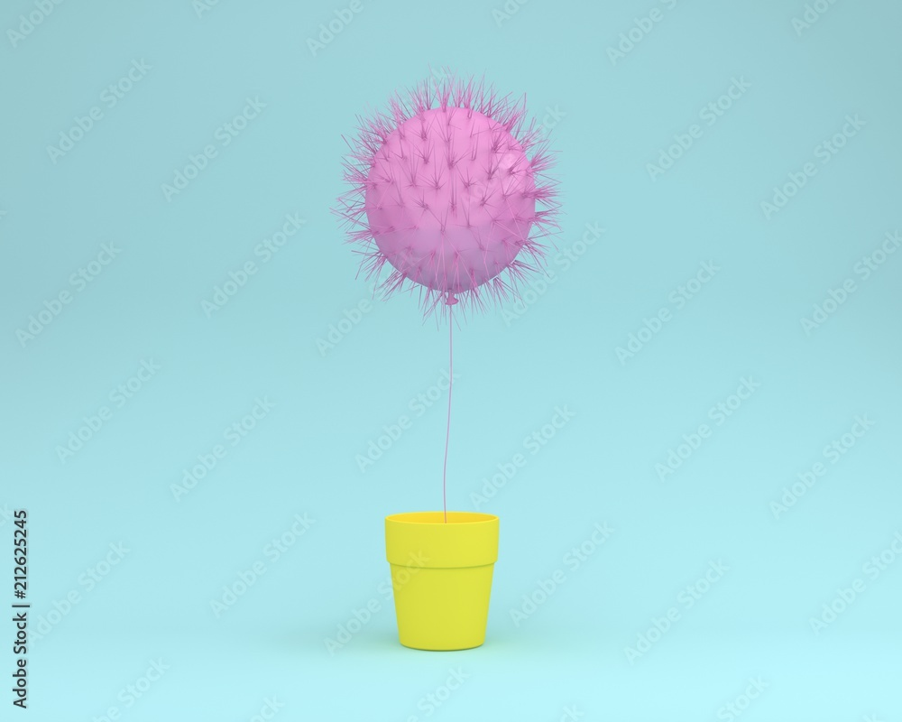 Fototapety, obrazy: Creative idea layout of cactus pink floating with flower pot yellow on pastel blue background. minimal concept. the freedom idea.