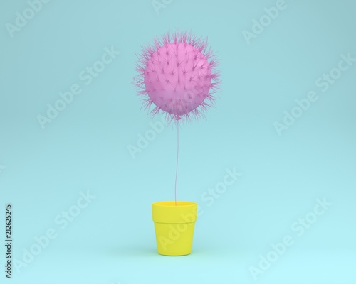 Obraz Creative idea layout of cactus pink floating with flower pot yellow on pastel blue background. minimal concept. the freedom idea. - fototapety do salonu