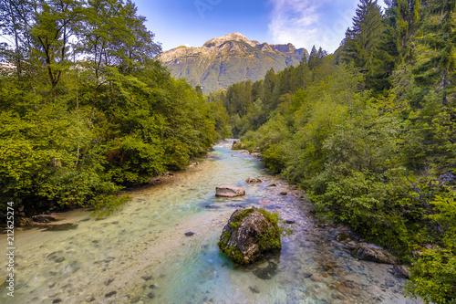 Foto op Canvas Rivier Emerald blue Soca river
