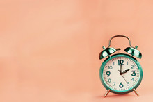 Vintage Style Alarm Clock With Room For Free Background Space For Text. Clock Is Generic.