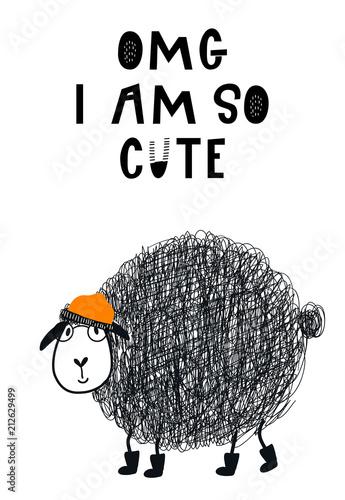 czarna-owieczka-z-pomaranczowa-czapka-i-napis-omg-i-am-so-cute
