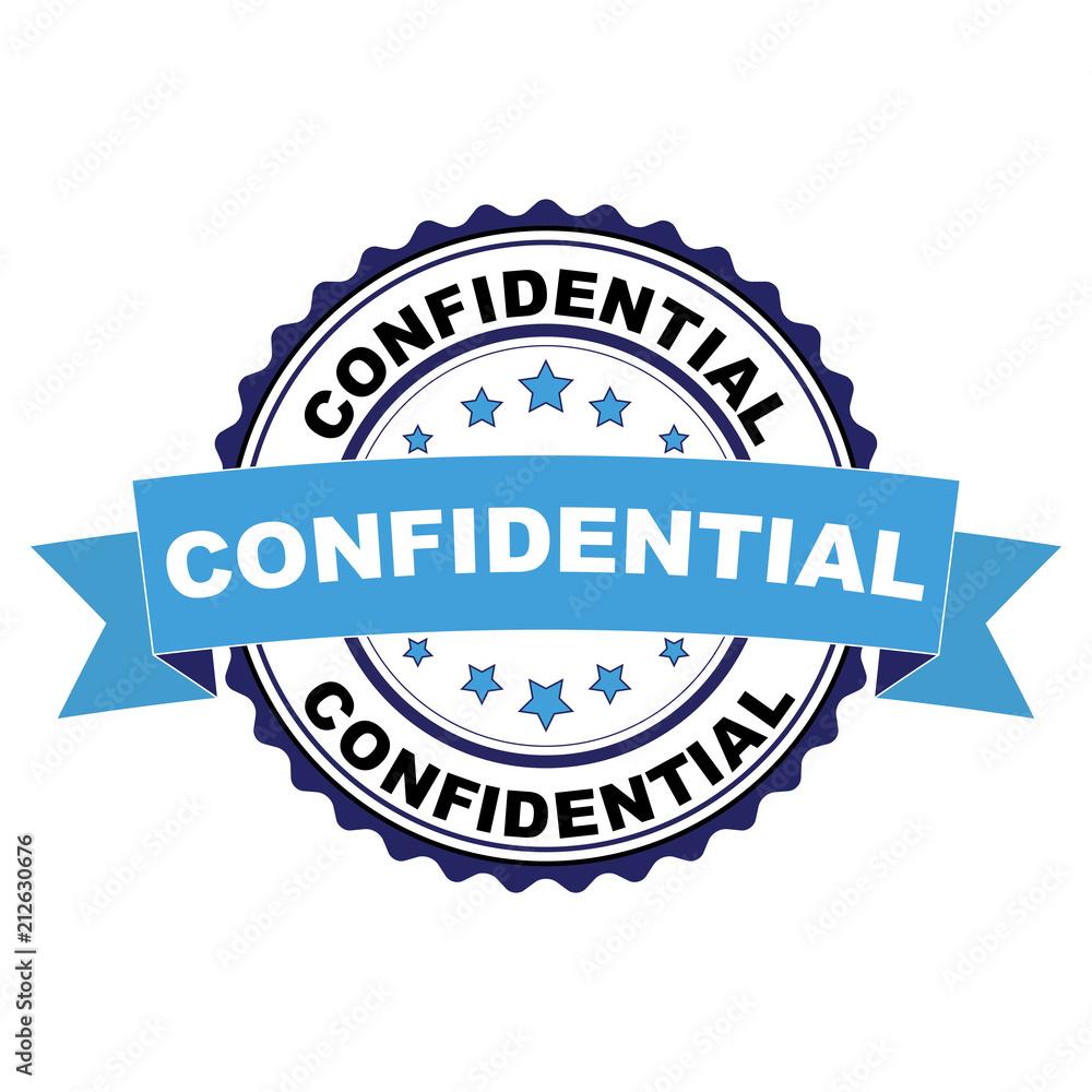 Fototapeta Blue black rubber stamp with Confidential concept