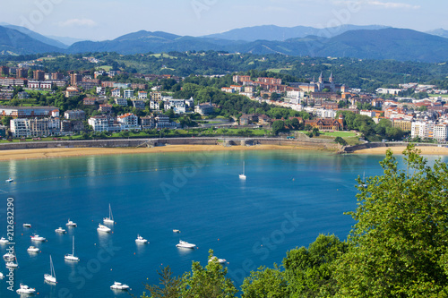 Panoramic view of  the city,ocean and  sand beach  on the sunny day Poster Mural XXL
