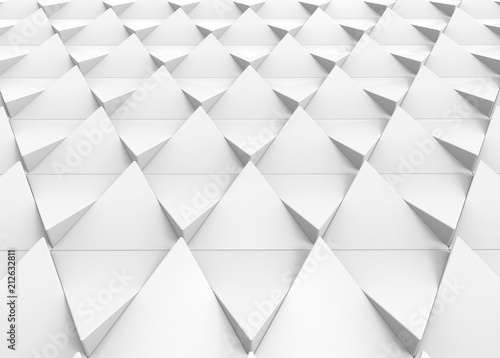 3d rendering. perspective view of modern white triangular shape tile floor background.