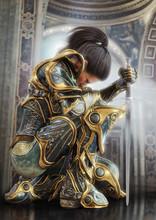Female Warrior Knight Kneeling Proudly Wearing Decorative Ornamental Armor. 3d Rendering