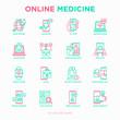 Online medicine, telemedicine thin line icons set: pill timer, ambulance online, medical drone, medical tracker, mHealth, messenger. Modern vector illustration.