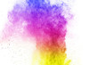 Freeze motion of colored powder explosions isolated on white background. Explosion of colorful dust explosive.
