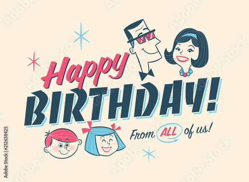 Photo Vintage Style Birthday Card - Happy Birthday From All of us!