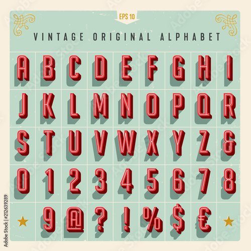 Fotografia Vector Vintage Style Alphabet with offset effect, useful for retro packaging design, posters, greeting cards, brochures, flyers and much more