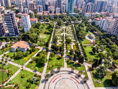Aerial Drone View of Goztepe 60th Year Park located in Kadikoy, Istanbul Fototapet