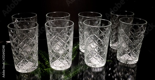 Set of Empty Luxury Vintage Crystal Glasses