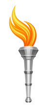 Silver Torch With Flame On A White Background