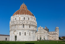 Baptistry Of Pisa With Cathedral And Tower Behind