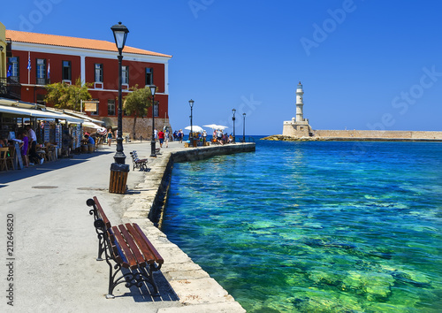 Deurstickers Stad aan het water famouse venetian harbour waterfront of Chania old town, Crete, Greece