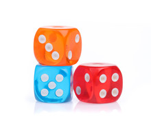 Colorful Dice Isolated On Whit...