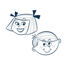Vintage Style Clip Art - Girl And Boy - Vector EPS10.