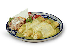 Green Sauce Enchiladas With Clipping Path Authentic Mexican Enchiladas With Melted Cheese